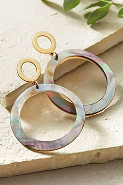 Mother of Pearl Shell Open Circle Earrings